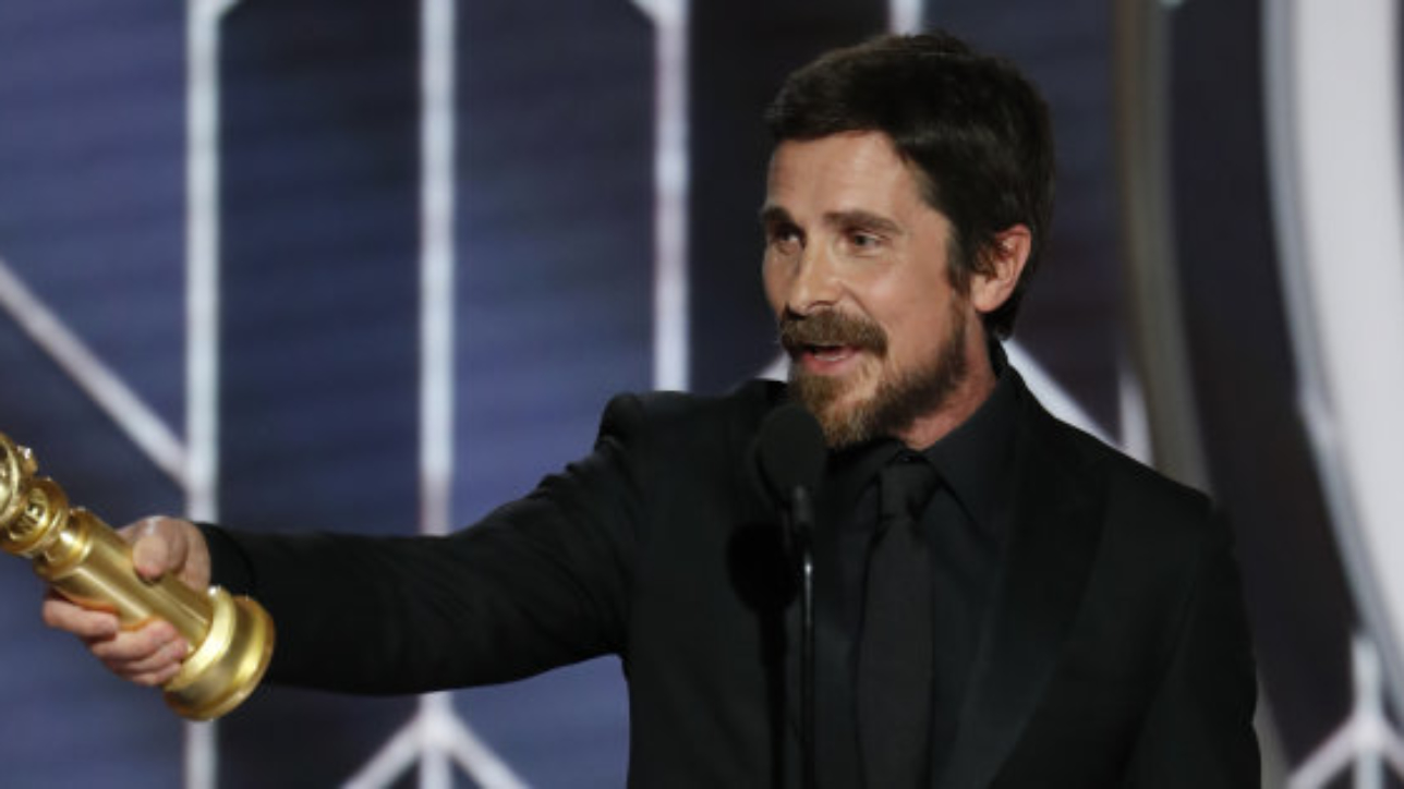 """BEVERLY HILLS, CALIFORNIA - JANUARY 06: In this handout photo provided by NBCUniversal, Christian Bale from """"Vice"""" accepts the Best Actor in a Motion Picture – Musical or Comedy award  onstage during the 76th Annual Golden Globe Awards at The Beverly Hilton Hotel on January 06, 2019 in Beverly Hills, California.  (Photo by Paul Drinkwater/NBCUniversal via Getty Images)"""